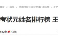 名字影响了运气?2016中国大陆高考状元姓名排行榜
