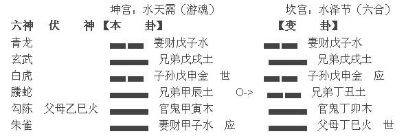 六爻占卜测流年财运案例:水天需变水泽节卦